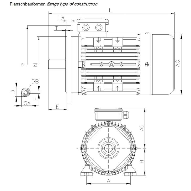 Elektromotoren B35 Maßzeichnung