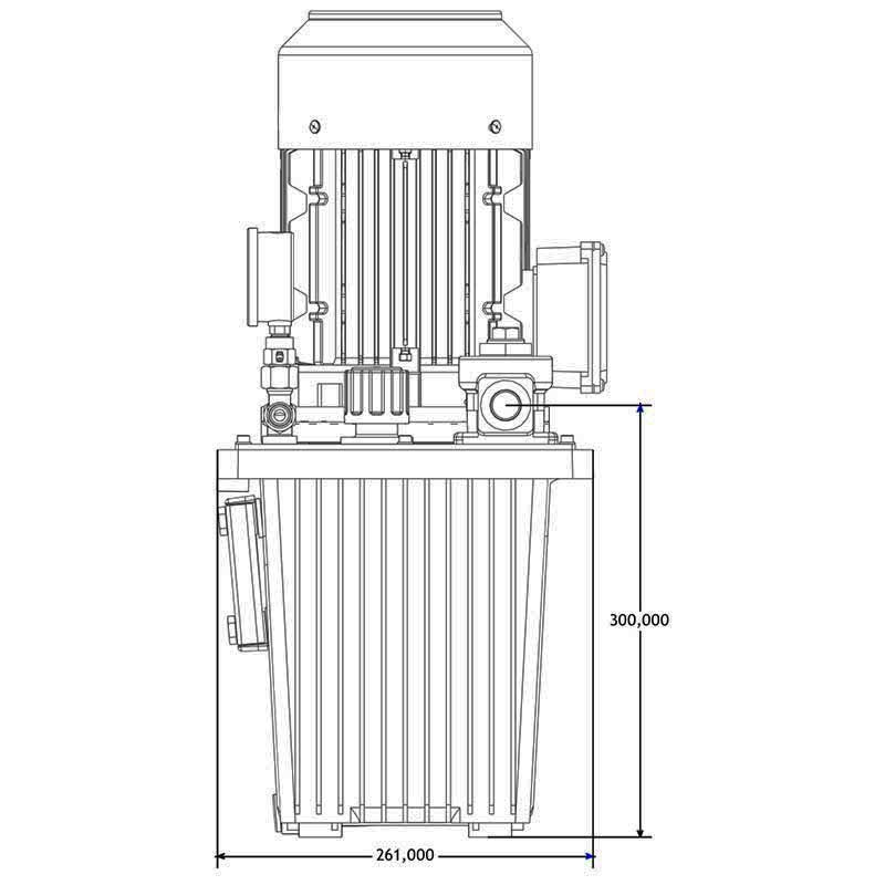 Hydraulikaggregat HA-DE-13-4 Seitenansicht B
