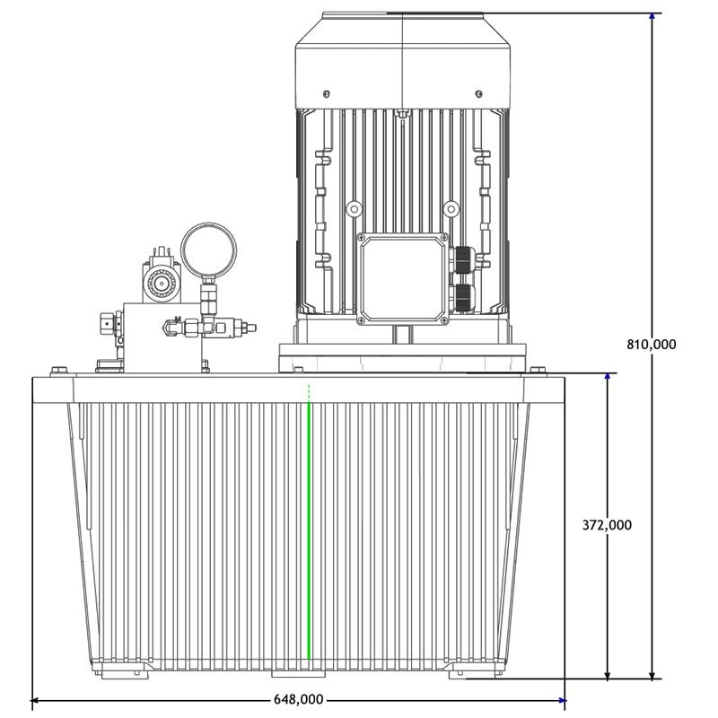 Hydraulikaggregat HA-DEEV-70-15 Seitenansicht A
